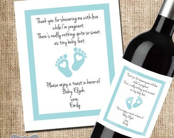 Shower Hostess Gift, Baby Shower Thank You, Gift for Hosting Baby Shower, Wine Label, Wine Gift for Shower, Thank You Wine Label