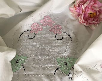 Vintage Mid Century Embroidered & Applique Cotton Coverlet or Sheet