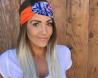 New York Mets Vintage Pinup Turban Headband || Hair Band Baseball Accessory Cotton Workout Yoga Fashion Royal Blue White Orange Head Scarf