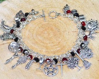 Gothic Witches Charm Bracelet - Handmade Pagan Jewellery for Wicca, Witch, Witchcraft, Pentacle, Goddess, Greenman.  Gothic.