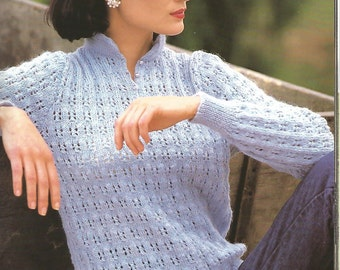 Knit Womans Sweater Chinese Neckline jumper long sleeves - light and airy /OhhhMama/ vintage pattern instant download pdf