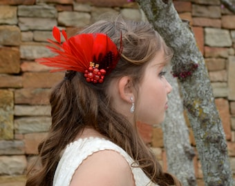 Red Feather Fascinator Comb Bridal Wedding Hair Piece