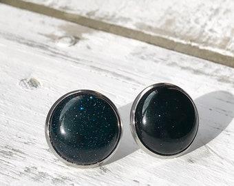 Blue Sandstone Stud Earrings, Blue Sandstone Earrings, Gemstone Earrings, Gemstone Stud Earrings, 16mm Stud Earrings