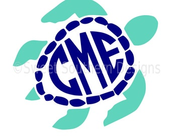 Sea turtle monogram SVG instant download design for cricut or silhouette