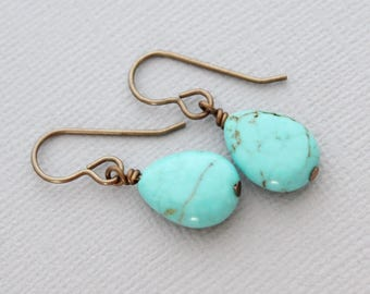 Turquoise Teardrop Earrings, Dangling Turquoise Earrings, Turquoise Jewelry, Small Teardrop Earrings, Turquoise Stone Earrings, Gift For Her