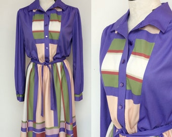 80s Sexy Secretary Dress. Color block 80s Dress. 1980s Shirt Dress. Belted 80s Dress.