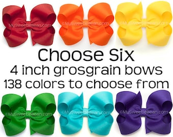 """Grosgrain Bows Set, 4 Inch Boutique Bows for Girls, 6 Pack of Hair Bows for Toddlers, 4"""" Hair Bows, Choose Colors, 138 Colors, Large Bows"""