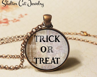 "Trick Or Treat Necklace - 1-1/4"" Circle Pendant or Key Ring - Handmade Wearable Art Photo - Halloween Costume Vintage Holiday Gift"