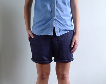 Vintage 60's Navy Blue Textured Slim Fit Shorts S 29 30 31