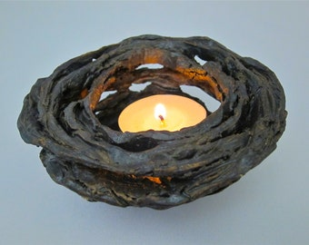 Votive Candle Holder Ceramic Lantern Tea Light Pottery Luminary Bird Nest