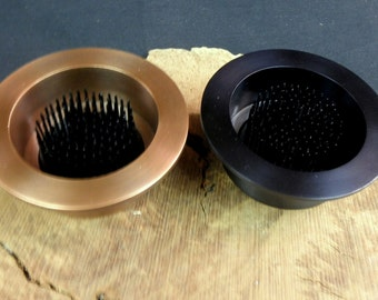 """2 Solid Brass Water Holding Floral Pin Frog Kenzan 4"""" Lip Fits a 3"""" Hole for Ikebana Vases 1 1/4"""" High Antique Copper & Black Pewter"""