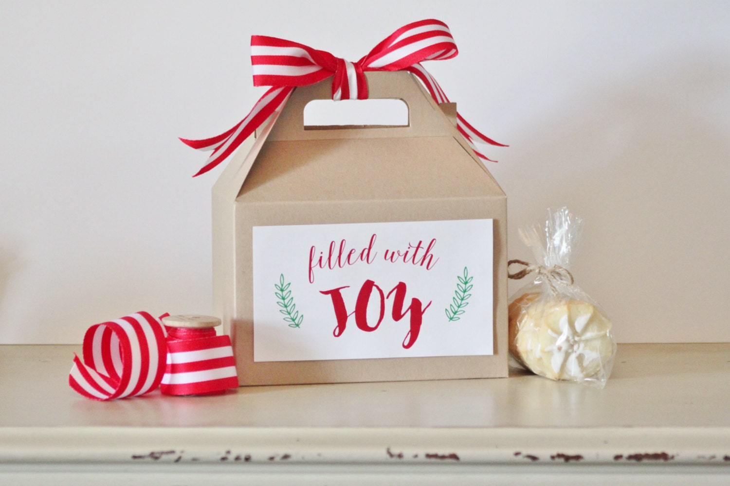 Set 10 kraft Gable boxes with ~ Filled with JOY ~ labels - holiday ...