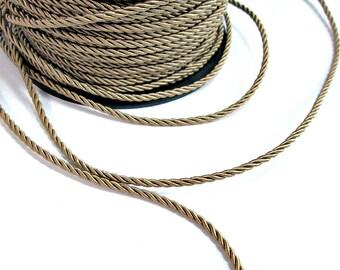 Twisted silk cord, 3mm, beige satin cord, 4 meters