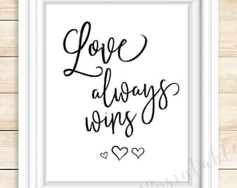 Love always wins, wedding quote, digital download, love quote, home decor printable, I love you, motivational quote