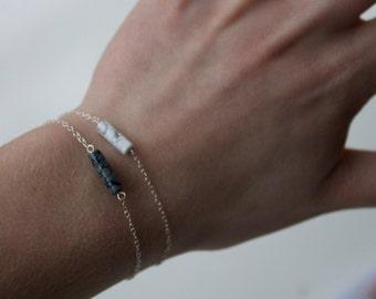 Snowflake Obsidian/ Marbled Howlite Fine Chain Sterling Silver Bracelet