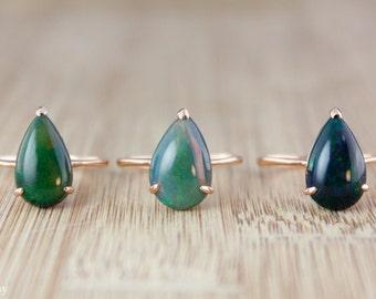 Tropfen australischen Opal Ringe - Rose Gold