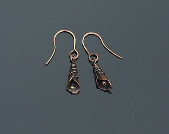 Handmade Copper Earrings, Oxidized, Antiquated, Copper, Lilly Flower, with hammered Ear Wires, Wire Wrapped, Perfect Gift, For Her.