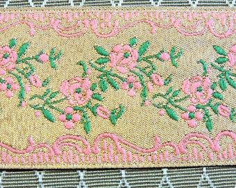 "ViNTaGE JaCQuARD RiBBoN Trim - 1 yd. - 1+1/2"" wide - GOLD ROSE GREEN"