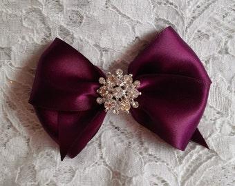 Hair Bow, Eggplant Satin Hair Bow Rhinestone Center,  Purple Flower Girl Hair Bows, Pageant Hair Bow, Holiday Christmas Sparkle Hair Bows
