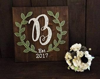 String Art Monogram/ Wedding Gift/ Bridal Shower Gift/ String Art/ Farmhouse Decor/ Engagement Gift/ Newlywed Gift/ Anniversary Gift