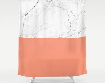 Peach White Marble Shower Curtain Colorblock Girls Bathroom Shower Curtain  White Marble Bathroom Marble Pattern Peach