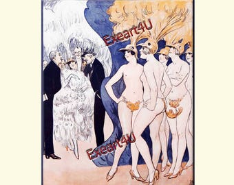 To be Naked or not to be Naked Jose Art Deco Theatre Dancers Dancing Actresses Stage History Erotic Fashion Illustration Picture Print
