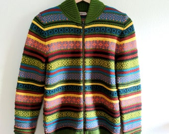 Colorful Vintage Fairisle Zip Sweater, Mock Neck Sweater, Sweater Jacket - S