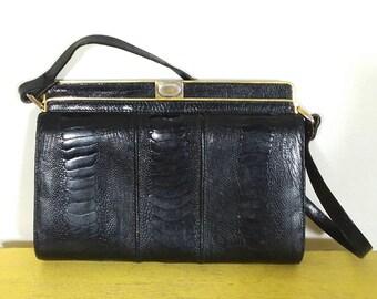 Vtg 1940's Black Ostrich Leather Accordion Handbag Purse