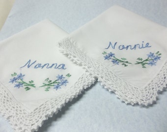 Grandmother, wedding handkerchief, grandma hankie, mamaw hanky, hand embroidered,family gift, hand embroidered, colors welcome