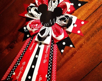 Mickey Mouse Corsage Baby Shower- Mommy-To-Be Pin, Mickey Mouse Theme Baby Shower, Baby Shower Corsage, minnie mouse corsage