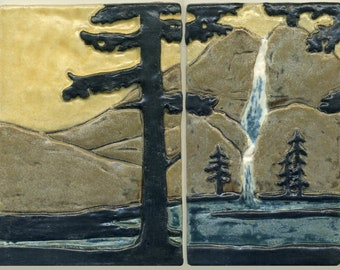 """Arts & Crafts style Landscape Set - Yosemite Falls with Waterfall, Trees and Mountains - 2 Tile Set - 7"""" H x 9 1/4"""" W -- Handmade Art TIle"""