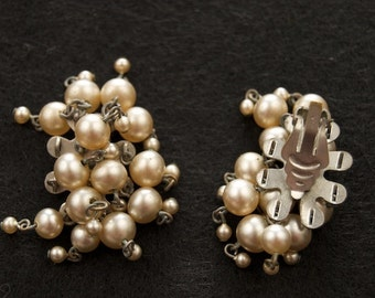 "Old Faux Pearl ""Cha-Cha"" Clip Earrings"