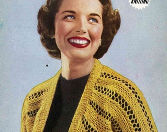 Light and Lacey quickly knit bolero - vintage knitting pattern PDF (503)