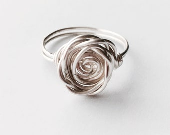 Silver Ring, Sterling Silver Rose Ring, Flower Ring, Rose Shaped Ring, Stacking Ring, Best Friend Ring, Mothers Day Gift, Rose Collection