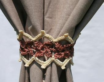 Curtain holdback Crochet curtain ties Curtain tie backs Curtain tiebacks Curtain holders Set of 2 curtain ties Pair of curtain tie backs