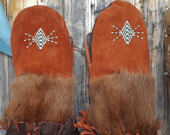Native American, beaded mittens