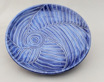 Pottery Serving Platter -  Blue Earthenware with Off Center Hand Carving