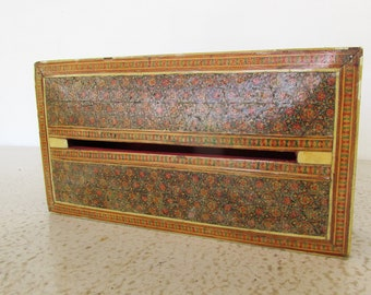 Vintage Persian Khatam Inlaid Wood Tissue Box Intricate Marquetry Handmade Velvet Lining Hand Crafted