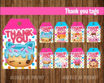 Num Noms Thank You tags, Printable Num Noms gift tags, Num Noms party Thank You tags instant download
