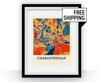 Charlottesville Map Print - Full Color Map Poster
