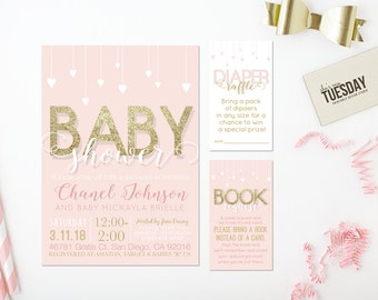Pink and Gold Baby Shower Invitation Printable - Blush and Gold Baby Shower Invitation - Girl Baby Shower Invitation Printable Set - Digital