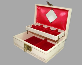 Cream Gold Red Jewelry Box with Key, Vintage Ivory 2 Tier Jewelry Box with Red Lining and Mirror