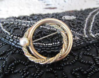 12 KT. G.F. Gold Filled Brooch Pin with Pearl Bead Vintage Brooch