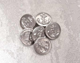 Silver Anchor Buttons, 19mm 3/4 inch - Silver-Tone Metal Nautical Ship Anchor Buttons - 6 VTG NOS Glistening Boat Anchor Shank Buttons MT070