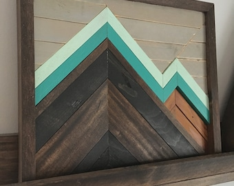 Mountain scape art panel-rustic/wooden/hand made