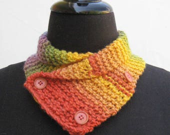 Rainbow neck warmer, rainbow scarf, orange yellow green blue purple neck warmer, buttoned scarf, hand knitted cowl, neck wrap, neckwarmer