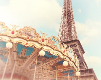 Eiffel Tower Photograph | Paris Photography | Carousel Wall Art  - Pastel Colors | Nursery Decor | France Travel Prints | Teal Blue | Yellow
