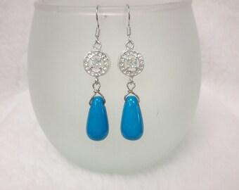 Turquoise earrings, silver earrings