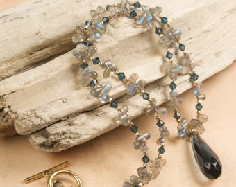 Blue Labradorite and  Swarovski Crystal Necklace