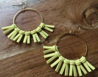 Gracie - Yellow Tassel Earring (vegan), Faux Leather, Fringe earrings